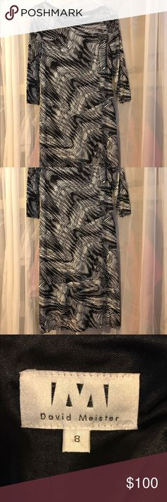David Meister Sheath Evening Dress Really nice dress by David Meister. No flaws and in great condition. Sleeves: 3/4in. Size 8 - Bust: 36 1/2in. Waist: 29 - High Hips: 36 - Low Hips: 39 David Meister Dresses Long Sleeve