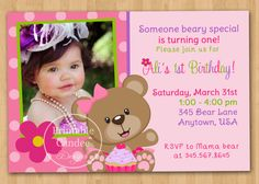 Cupcake Teddy Bear Birthday Invitation  Custom by printablecandee, $10.00