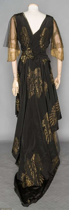 BLACK & GOLD LAME EVENING GOWN, c. 1912 | Augusta Auctions