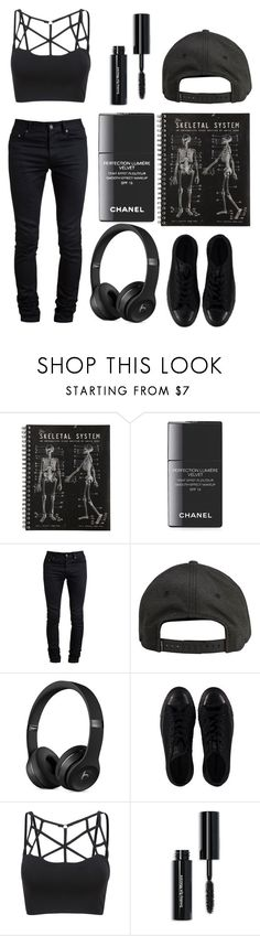 """""""Monday With The Dark side"""" by casualbandgirl ❤ liked on Polyvore featuring Chanel, Yves Saint Laurent, Billabong, Converse, Bobbi Brown Cosmetics, black, Dark and monday"""
