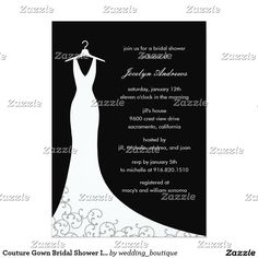 Couture Gown Bridal Shower Invitation (Black)
