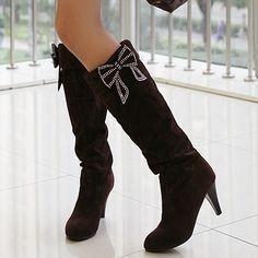 Shoespie Sweetheart Bow Low Heel Knee High Boots