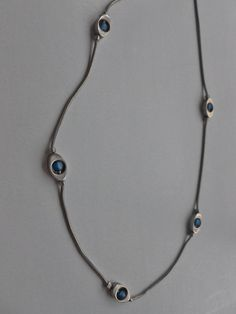 Silver Blue Stone Necklace by GramsAntiques on Etsy, $7.00
