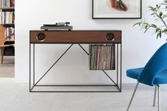 The elegant new stereo console by Symbol Audio connects to a record player or Bluetooth-enabled device. Plus there's a place to store your records! Modern Furniture, Furniture Design, Audio Furniture, Record Player Stand, Lp Player, Record Rack, Record Holder, Vinyl Storage, Lp Storage