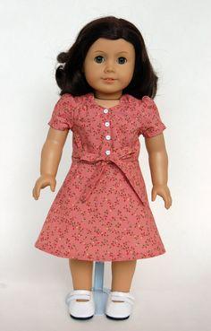 Depression/WWII Era 18 inch American Girl Doll Dress - Dusty Rose/Pink. $30.00, via Etsy.