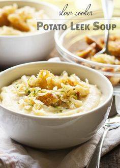 Slow Cooker Potato Leek Soup - Comforting, creamy, cheesy, and now even easier to make, this potato leek soup delivers all the flavor for only minutes of work. | justalittlebitofbacon.com
