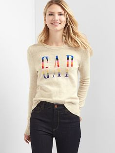 Gap Womens Crazy Stripe Logo Crewneck Sweater Camel Heather