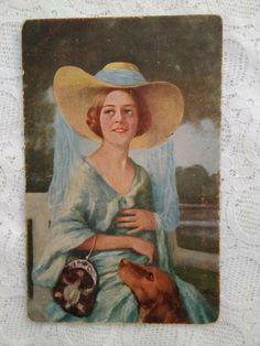 Italian Art, Vintage Italian, White Doves, Woman Face, Hats For Women, Blue Dresses, Art Nouveau, German, Beautiful Women