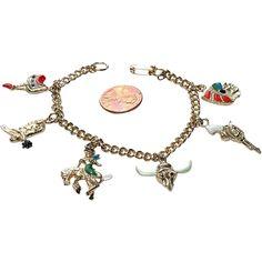 Whimsical 1950's Western Themed Charm Bracelet - Whimsical 1950's Western Themed Charm Bracelet