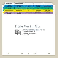 Estate Planning Index Tabs for Professional Use--also, it is a Great organized method for anyone to use.