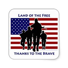 Patriotic Flag Soldiers Silhouette Sticker