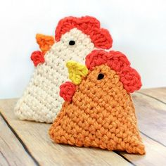 Crochet Chicken Pattern ... Little Chick Bean Bag Pattern. I found these adorable little bean bag chicks on Gluesticks Blog and envisioned them as cute little kitchen pets. But since you already know I don't drag my sewing machine out often, I decided to crochet them instead. And there was hatched this cute crochet chicken pattern.