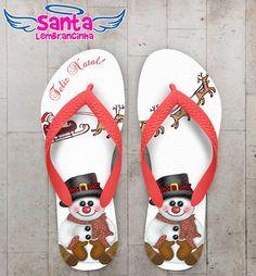 Chinelo Personalizado Feliz Natal, Boneco de neve