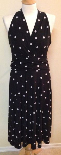 Ralph Lauren Chaps Dress size XL black white Polka Dot Sleeveless V-Neck pin up #Chaps #Pinup #Casual