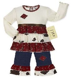 Western Cow Print and Bandana Baby Girls Outfit