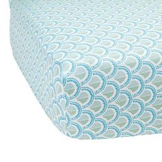 Celadon Scale Crib Sheet - love the color combo and pattern, would adore it in adult bed sizes.