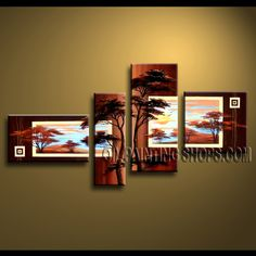 Amazing Contemporary Wall Art Hand-Painted Art Paintings For Living Room Landscape. This 4 panels canvas wall art is hand painted by Anmi.Z, instock - $144. To see more, visit OilPaintingShops.com