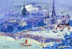 The Seine At Pont Du Carousel Artwork by Jean Dufy Hand-painted and Art Prints on canvas for sale,you can custom the size and frame
