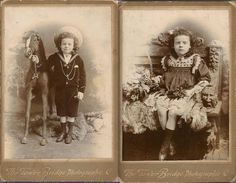 Interesting family story of momento mori. The photo on the left is the bloggers maternal great-grandfather, George. George had a twin sister that died in infancy. No photo was taken of her so to remedy that, they dressed George as a girl (which he looks pretty unhappy about) so they could ostensibly have a photo of the deceased daughter too.