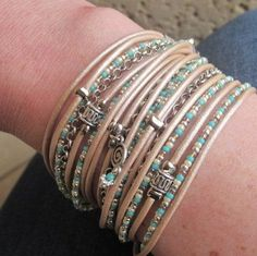 Boho Chic Champagne Leather Wrap Bracelet with by DesignsbyNoa, $38.00