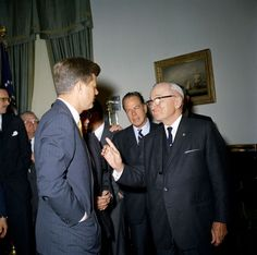 KN-C17943. President John F. Kennedy Speaks with President Harry S. Truman After Bill-signing - John F. Kennedy Presidential Library & Museum