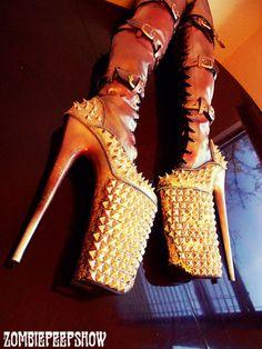 "Fetish ""Gasoline II"" Thigh High Pleaser Beyond Studded Boots Heels from kaylastojek on Etsy. Crazy High Heels, Extreme High Heels, Crazy Shoes, Me Too Shoes, Weird Shoes, Heeled Boots, Shoe Boots, Talons Sexy, Ballet Heels"