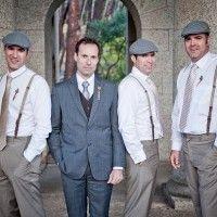 groom in navy suit + varied groomsmen similar to..1920+groom+and+groomsmen | Rustic Art Deco Wedding || Isabel + Carlos || Art Deco Weddings
