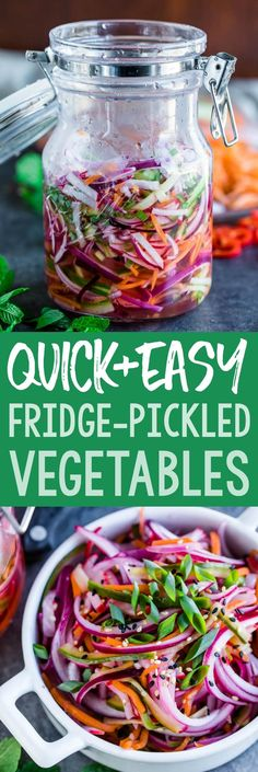Quick Fridge Pickled Vegetables make the ultimate topping for tacos burgers and more! Featuring a blend of carrots cucumber radish and onion this healthy recipe is fast and flavorful! Side Dish Recipes, Gourmet Recipes, Vegetarian Recipes, Cooking Recipes, Healthy Recipes, Cheap Recipes, Veggie Recipes, Radish Recipes, Detox Recipes