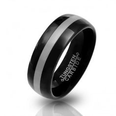 Black Mens Curved Tungsten Wedding Band Ring 7mm