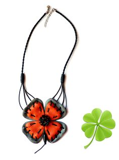 Leather Jewelry Clover Necklace Handmade Bib Necklace by ELEST, $40.00