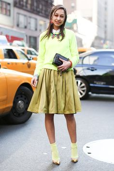 This Is It — Over 400 of The Best Looks to Hit the Streets at NYFW: A lesson in monochromatic dressing in bright shades of citron.