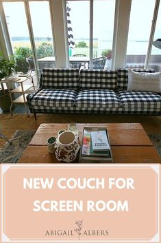 Spruced up my screen room with a new couch and it made a world of difference!  A new couch can change the entire feel of a room.