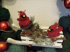 Come in to see how to make these adorable knit or crochet cardinals and other winter birds!