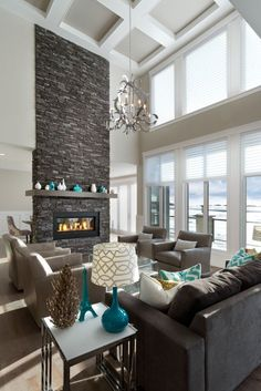 Grey living room designs, furniture and accessories that prove the cooling colour is the scheme for you. Winter Living Room, Living Room White, Living Room Paint, New Living Room, Cozy Living, Living Area, Living Spaces, Home Fireplace, Living Room With Fireplace