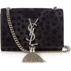 Saint Laurent Kate small flocked-star calf-hair cross-body bag ($1,990) ❤ liked on Polyvore featuring bags, handbags, shoulder bags, calf hair purse, pony hair handbags, evening purses, yves saint laurent purses and holiday purse