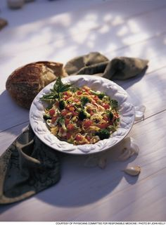 Fettucine (try whole wheat) with Broccoli & Pine Nuts recipe: http ...