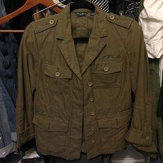 """Eddie Bauer Blazer Style Jacket Military Green Eddie Bauer """"Blazer"""" style jacket. Features hidden button up front just below waist length. All buttons present. Draw string inside for a snatched look .  100% cotton. Only dry cleaned so no shrinkage Eddie Bauer Jackets & Coats Blazers"""