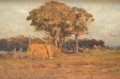 """Landscape with trees and a hay stack, Robert Swain Gifford,  oil on panel, approx. 7 x 13"""", private collection."""