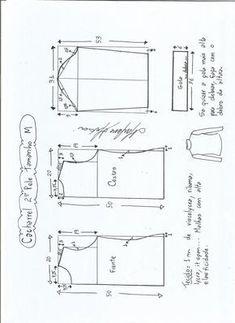 Esquema de modelagem de Blusa cacharrel segunda pele de malha tamanho M.