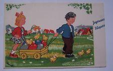 CPC44 cpa fantaisie JOYEUSES PAQUES HAPPY EASTER enfants illustrée par BERNET