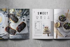 Indesign Document 2 sizes: & US letter 2 sizes: .IDML file Uses free fonts Help File Photographs Not Included Recipe Book Design, Cookbook Design, Book Design Layout, Menu Design, Design Ideas, Recipe Book Covers, Cookbook Template, Design Editorial, Menu Book