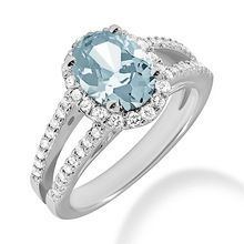 Oval Aquamarine Split Band Halo Engagement Ring