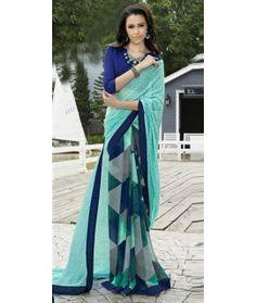 Elegant Blue And Green Georgette Saree.