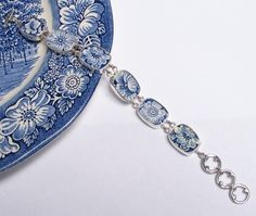 Broken China Jewelry - Liberty Blue Staffordshire - Sterling Silver Bracelet