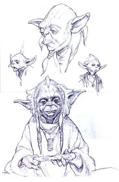The mini Jedi master appears as he has never been seen him before in Iain McCaig concept sketches for The Phantom Menace. Sketch drawing artwork by artist Iain McCaig Star Wars Rpg, Star Wars Jedi, Character Concept, Character Art, Yoda Species, Pixar, Star Wars Concept Art, Comic Kunst, Star Wars Episodes