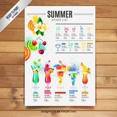 Lista de bebidas de verano Vector Gratis