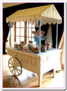 really need to make this as my candy cart has a dull wooden roof.  Off to find black and white striped fabric!