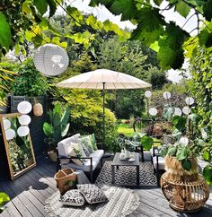 Inspirational ideas about Interior Interior Design and Home Decorating Style for Living Room Bedroom Kitchen and the entire home. Curated selection of home decor products. Small Backyard Patio, Backyard Patio Designs, Patio Ideas, Outdoor Spaces, Outdoor Living, Outdoor Decor, Outdoor Rugs, Outdoor Seating, Black Deck