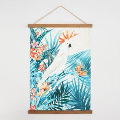 Parrot Canvas Tapestry with Wood Frame Wall Art