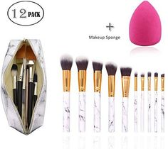 About the product-PROFESSIONAL 10 PCS MARBLE BRUSHES SET+MARBLE MAKEUP BAG+MAKEUP SPONGE:10 Pcs marble brushes,marble pattern design handles.Used for basic makeup,Blending,Blush,Eyeliner,Eyeshadow,Eyebrow,Face Powder and so on.The Portable marble makeup brush bag helps keeping all of your brushes clean and organized.The makeup sponge for daily use. -QUALITY MARBLING HANDLE AND SOFT SYNTHETIC BRISTLE BRUSHES:Exquisite marbling handle.The dense soft synthetic fibers bristles dispense the products Makeup Brush Bag, Best Makeup Brushes, Eyeshadow Brushes, Makeup Tools, Best Makeup Products, Contour Brush, Lip Brush, Brush Set, Face Blender